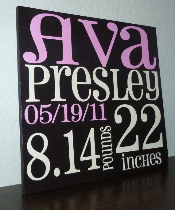 Birth Announcement Subway Art ($44, includes shipping)