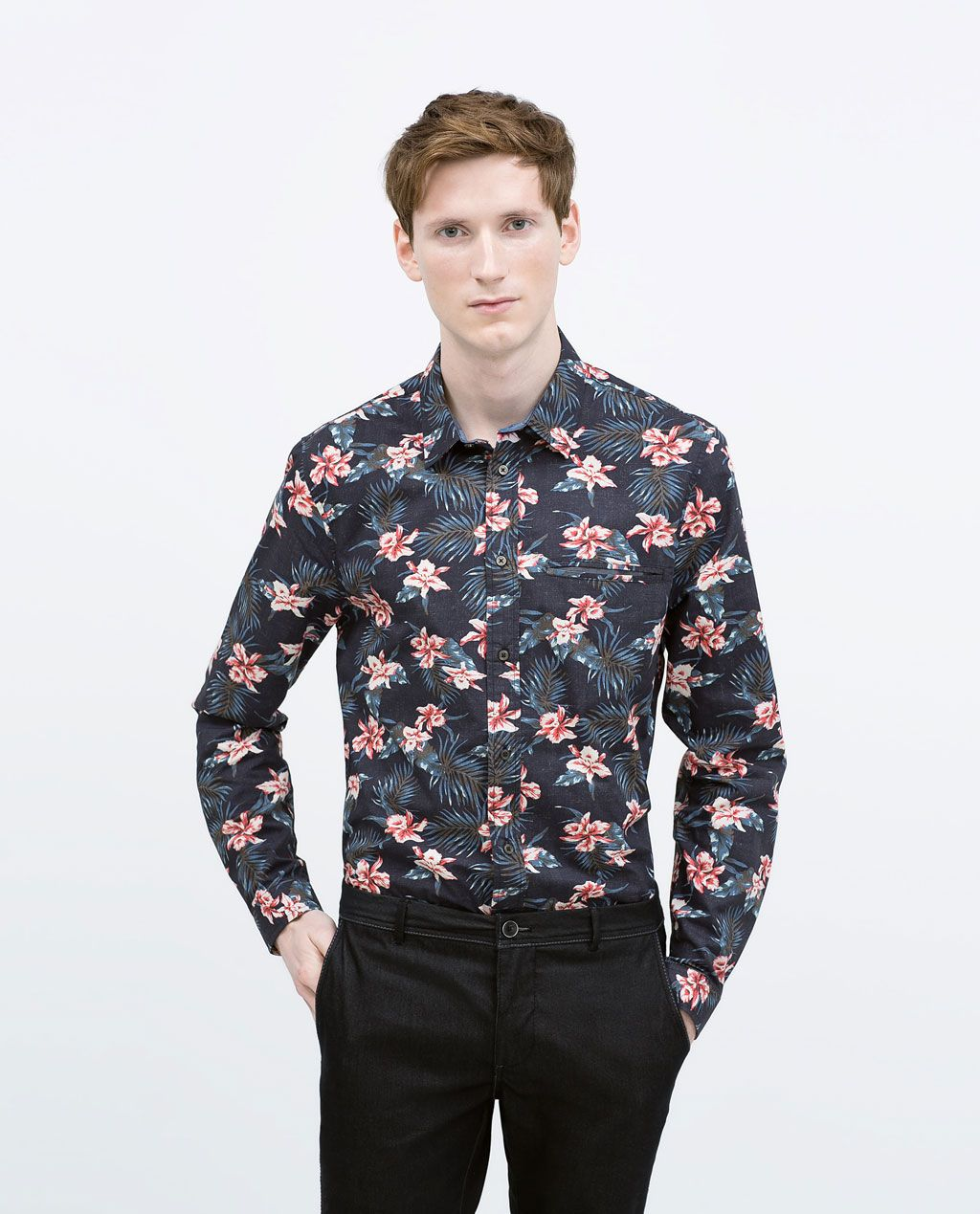 Floral print shirt printed shirts man zara united states for Zara mens floral shirt