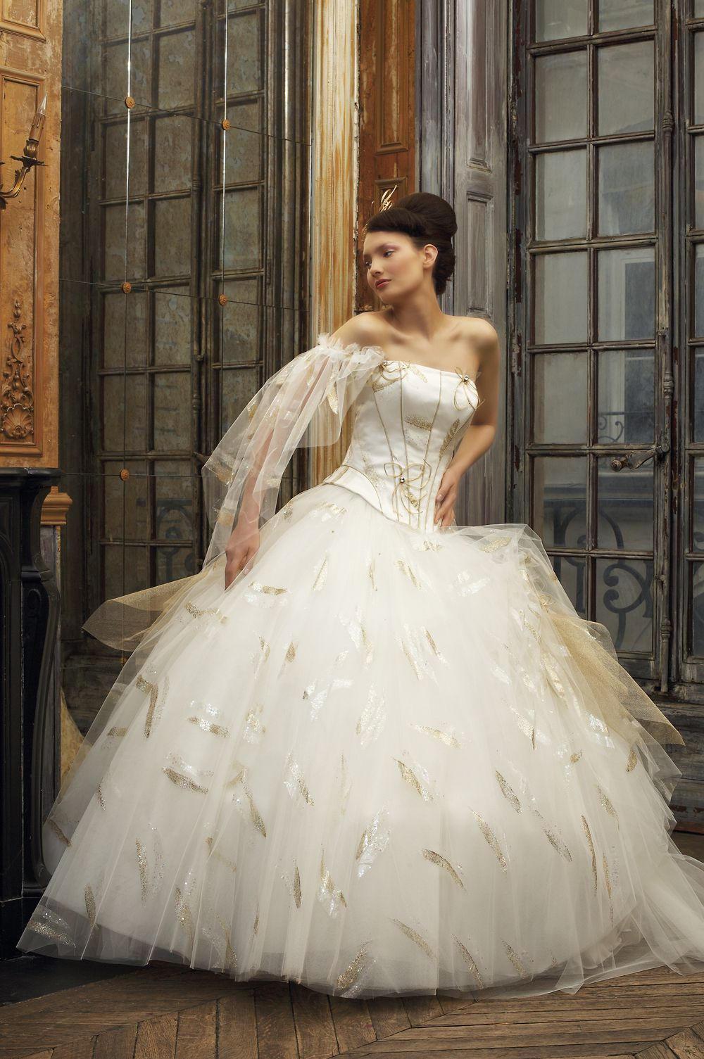 Gold Tulle Wedding Dress