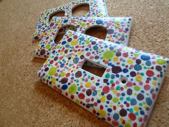 Polka Dots Lightswitch Cover and Outlet Covers Set, Fun Lightswitch and Outlet Covers, Children's Multicolored Lightswitch & Outlet Covers on Etsy, $12.00