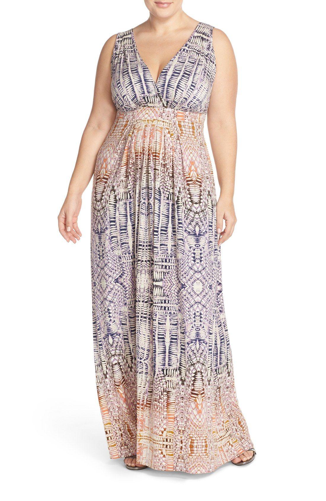 03d055aab Tart 'Chloe' Print Empire Waist Jersey Maxi Dress (Plus Size ...