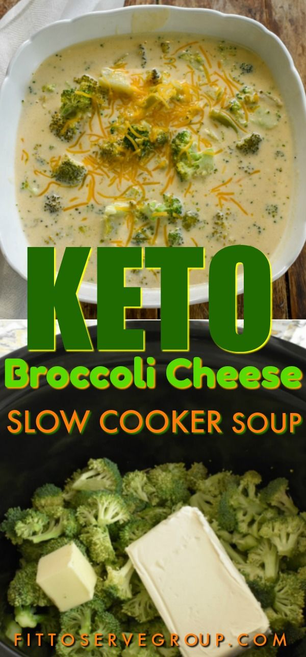 Keto Broccoli Cheese Slow Cooker Soup #keto