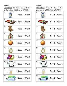 Needs And Wants With Images Kindergarten Social Studies