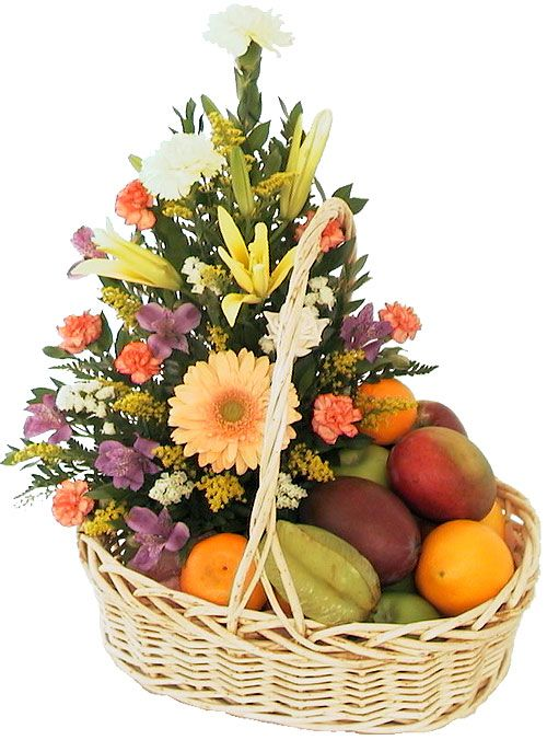 Great Fresh Fruit Includes Fresh Bouquet Of Flowers