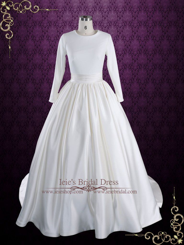 Ball gown wedding dress with sleeves  Modest Plain Ball Gown Wedding Dress with Long Sleeves  Katrine
