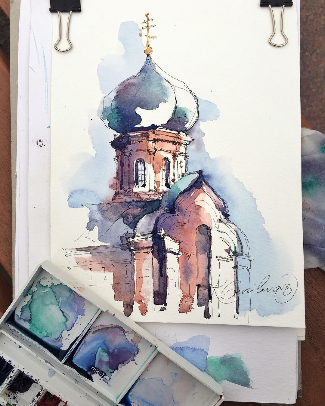 The Detail Of Cathedral In Tula City Sketch By Artist Kristina