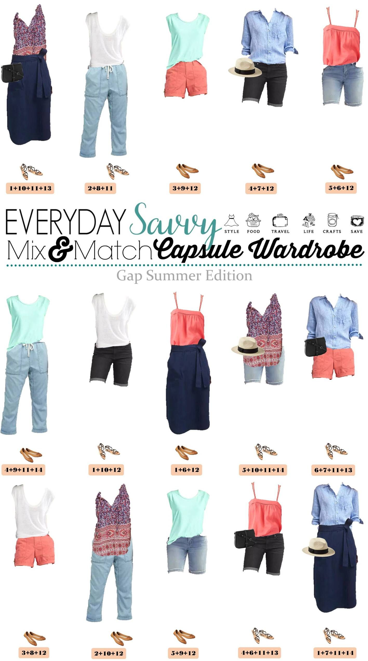 24ac84f347e Check out the new casual summer outfit ideas in this Gap summer capsule  wardrobe. I love the easy wrap skirt