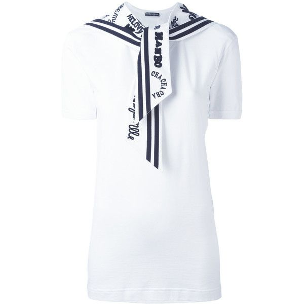 Dolce & Gabbana sailor T-shirt (1 965 AUD) ❤ liked on Polyvore featuring tops, t-shirts, white, cotton t shirts, round neck t shirt, long tee, long white t shirt and short sleeve t shirts