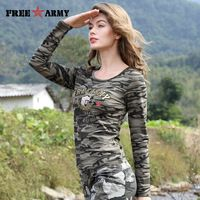 ee0bca8f67bd Brand T-Shirt Long Sleeve Women Cotton Print T Shirts Women Tops Tees  Military Slim