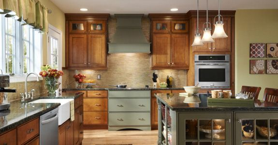 Best Kraftmaid Gresham Maple In Cinnamon And Sage Installing 640 x 480