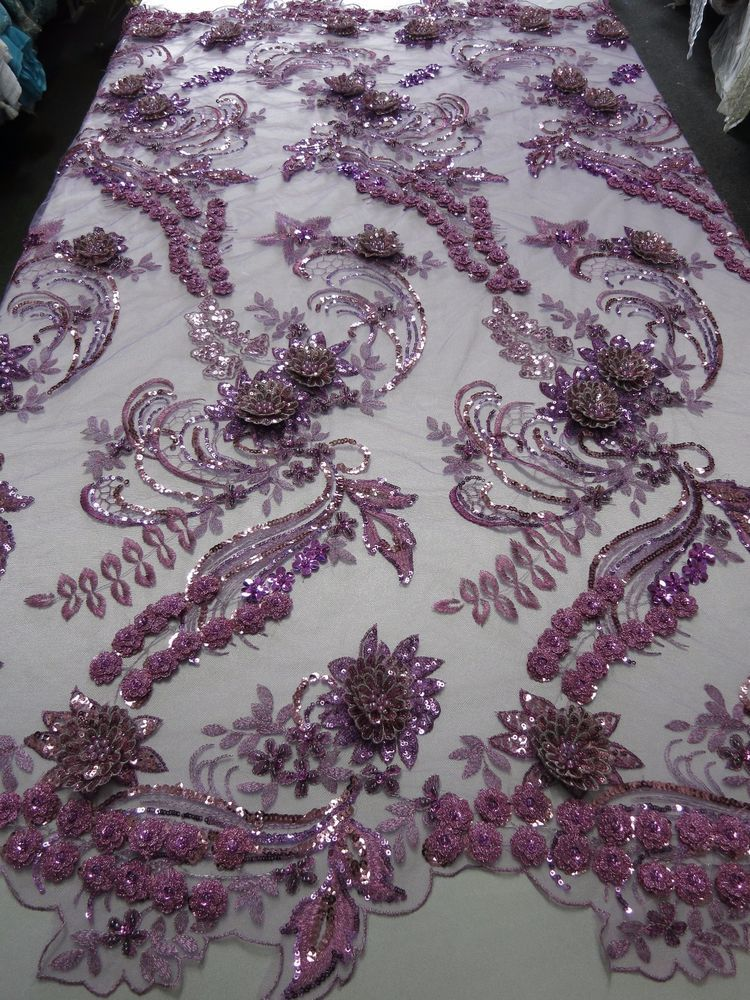 Lavender Magnificent Design Embroider And Heavy Beaded On A Mesh Lace-Yard