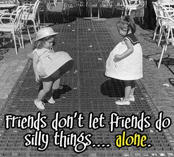 Friends don't let friends do silly thingsalone. | Delightful