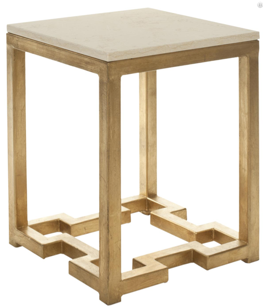 Owen Gold Ivory Greek Key Side Table Marble Top Accent Table