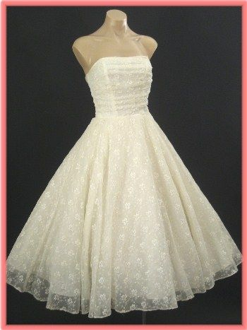 50\'s Strapless Ivory Tea Length Wedding Dress- Embroidered Eyelet ...