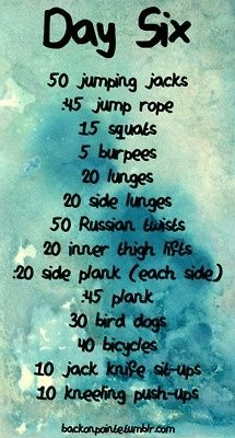 One Week Intensity Workout - Day Six fitness workout
