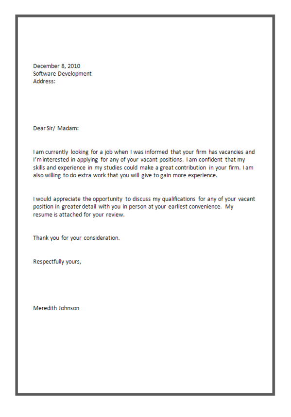 simple covering letter for job