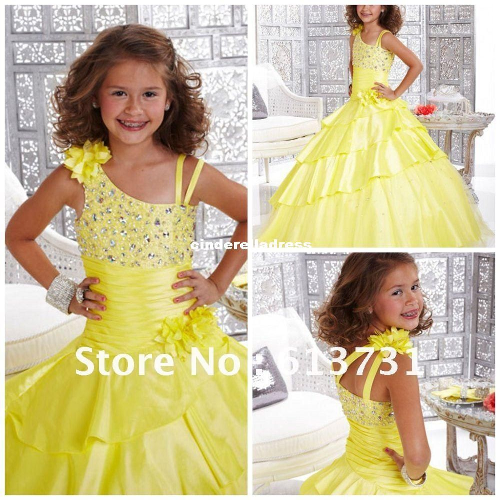 a77945e0faee Wholesale Pageant Dresses for Girls - Buy 2014 Cheap Beaded Yellow Little  Ball Gown Long Glitz Girls Pageant Dresses Flower Girl Gowns Wedding Party  Girls ...