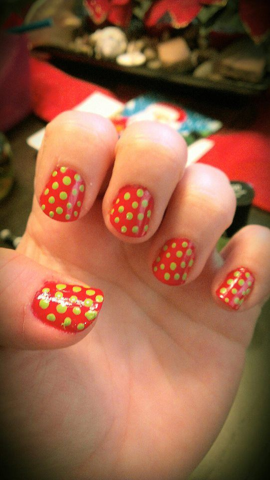 Holiday Inspired Polka Dot Nails (I messed up the thumb a bit, but you get the idea!)