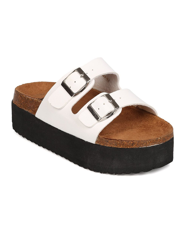 3613b57defb6 New Women Betani Libby-1 Leatherette Open Toe Double Buckle Flatform Sandal