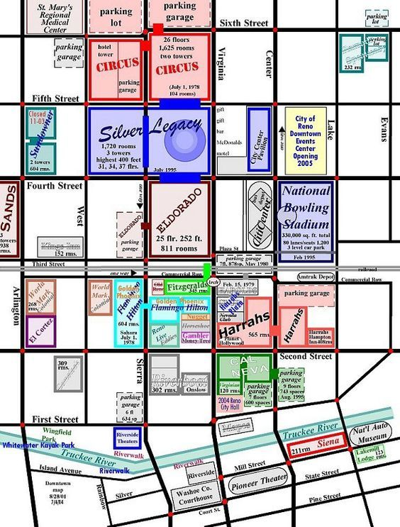 Reno Nevada S Map Downtown Top Home Maps Info Main Page 1
