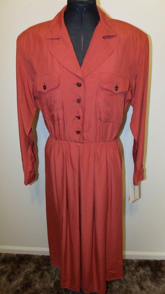 Liz ClaiborneSize 8 Reddish Orange Long Sleeve Dress  NWT #LizClaiborne #Shift #WeartoWork