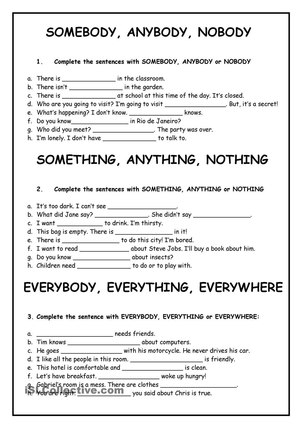 Worksheet Indefinite Pronouns English best ideas about indefinite pronouns worksheets esl and exercises to reinforce grammar with these wordspronouns fully editable page 2 has the answers enjoy it was first published by
