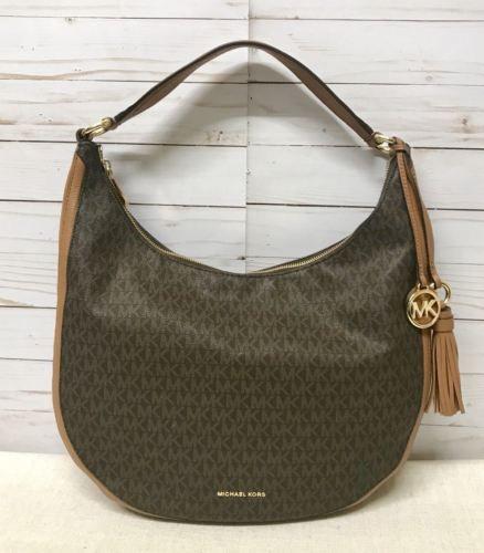 a03697c0aece90 Michael Kors Lydia Hobo Bag Signature Brown | Designer Women Bags ...