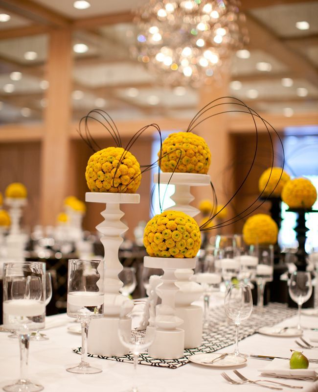 Yellow Wedding Flowers Ideas: Inspired By This Modern Table From Blog.theknot.com. Can't