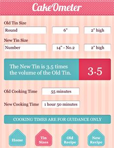 Cakeometer - App Demonstrator. This is now available on the app store and it's amazing. You can scale your recipes and cooking times to fit any shape or size of cake tin.