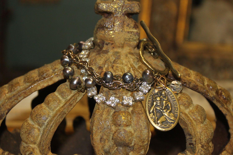 Etsy transaction vintage assemblage religious bracelet rhinestone