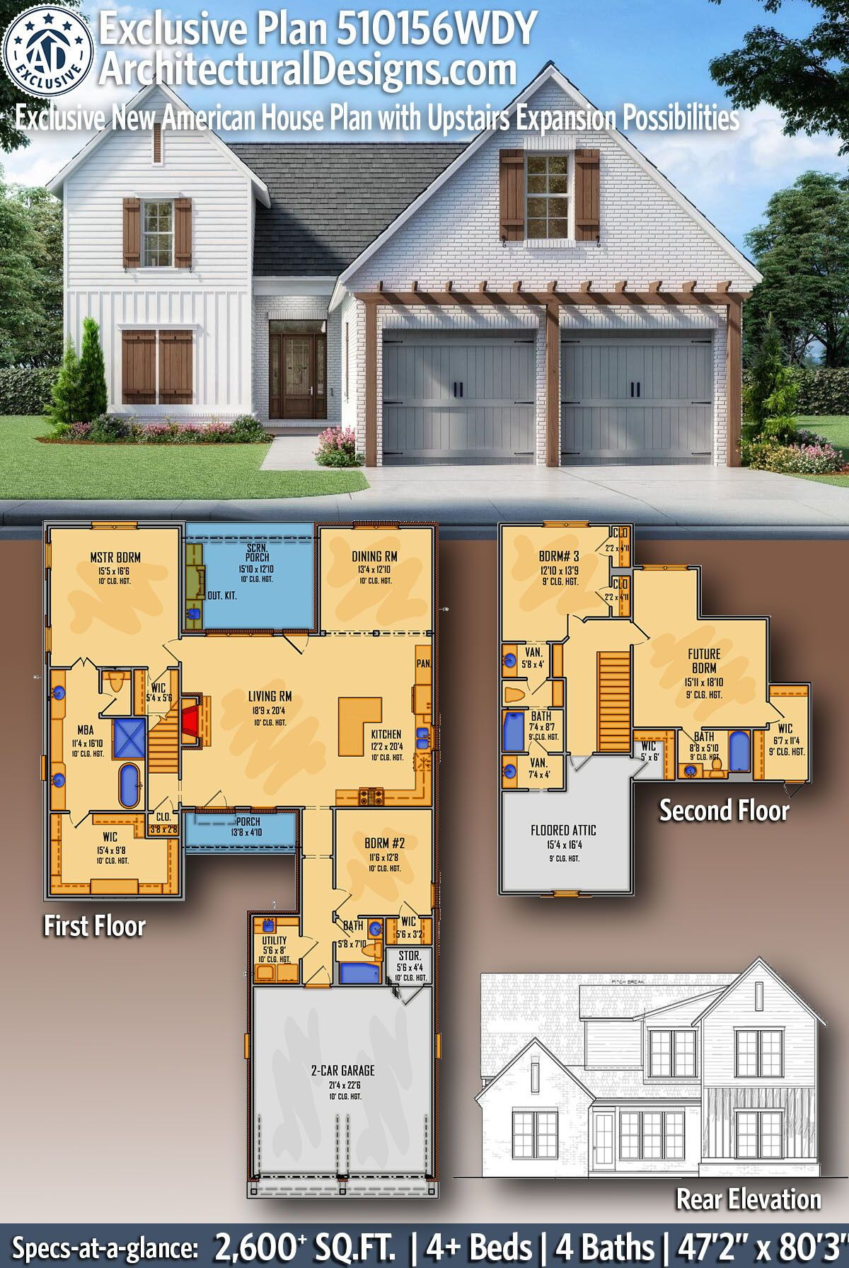 Plan 510156wdy Exclusive New American House Plan With Upstairs Expansion Possibilities In 2020 Exclusive House Plan American Houses House Plans