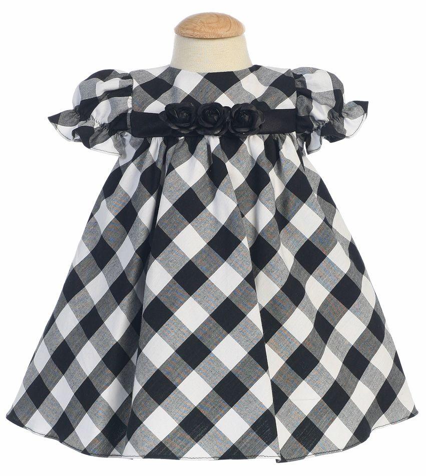 05040d2f6 Black/White Cotton Gingham Checked Baby Dress | pari | Nähen