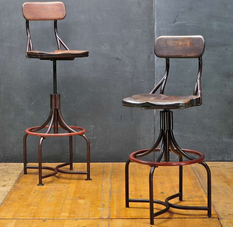 1930u0027s Vintage Industrial Westinghouse Factory Bar Stool Chairs Pair : antique bar stools wood - islam-shia.org