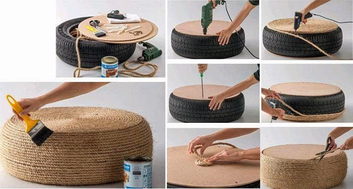 Llantas neum ticos ruedas coche reciclar decorar puff sofa - Puff con ruedas ...