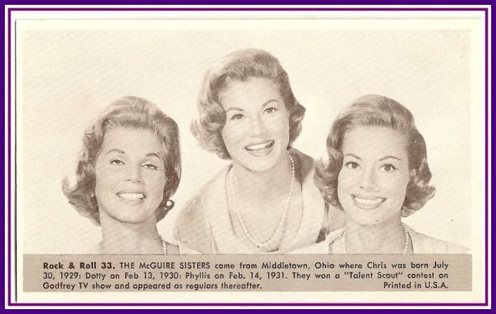 McGuire Sisters   Number 33  Collectible Rock and Roll  Arcade or Exhibit Card