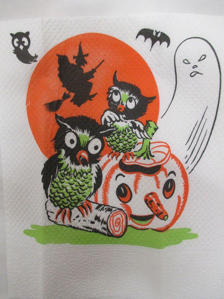 47 Vintage Halloween Napkins - In Individual Plastic Sleeves - Ghost - vintage halloween decorations