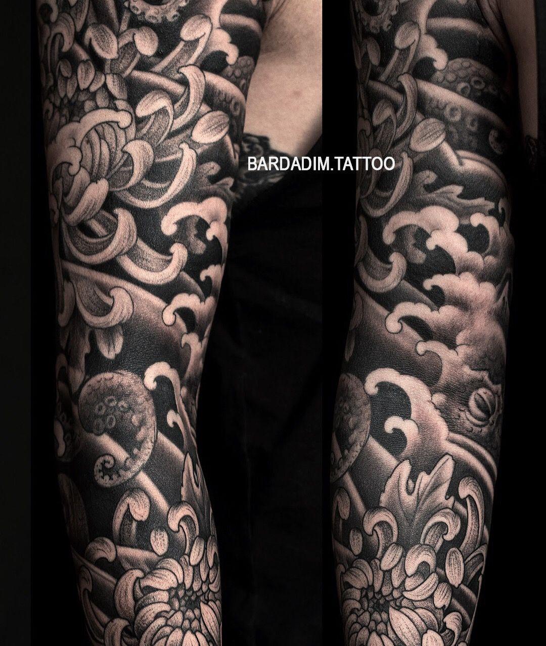 Octopus Japanese Tattoo George Bardadim Tattoo Artist Nyc Japanese Tattoo Black And Grey Tattoos Grey Tattoo