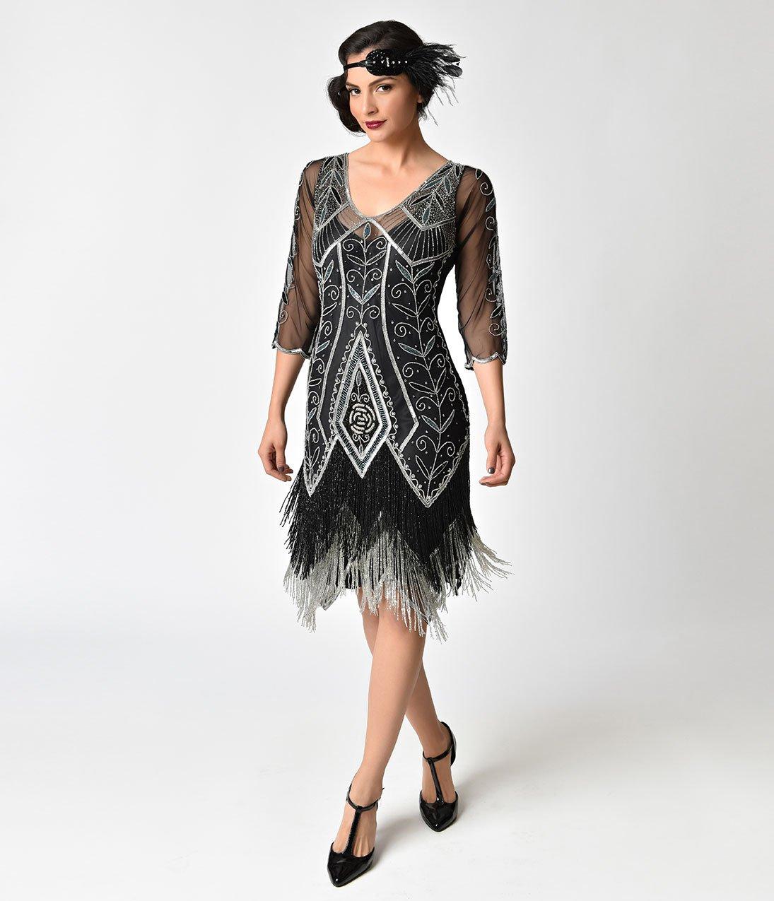 Cheap Wedding Dresses Madison Wi: 1920s Style Black & Silver Beaded Sleeved Scarlet Fringe
