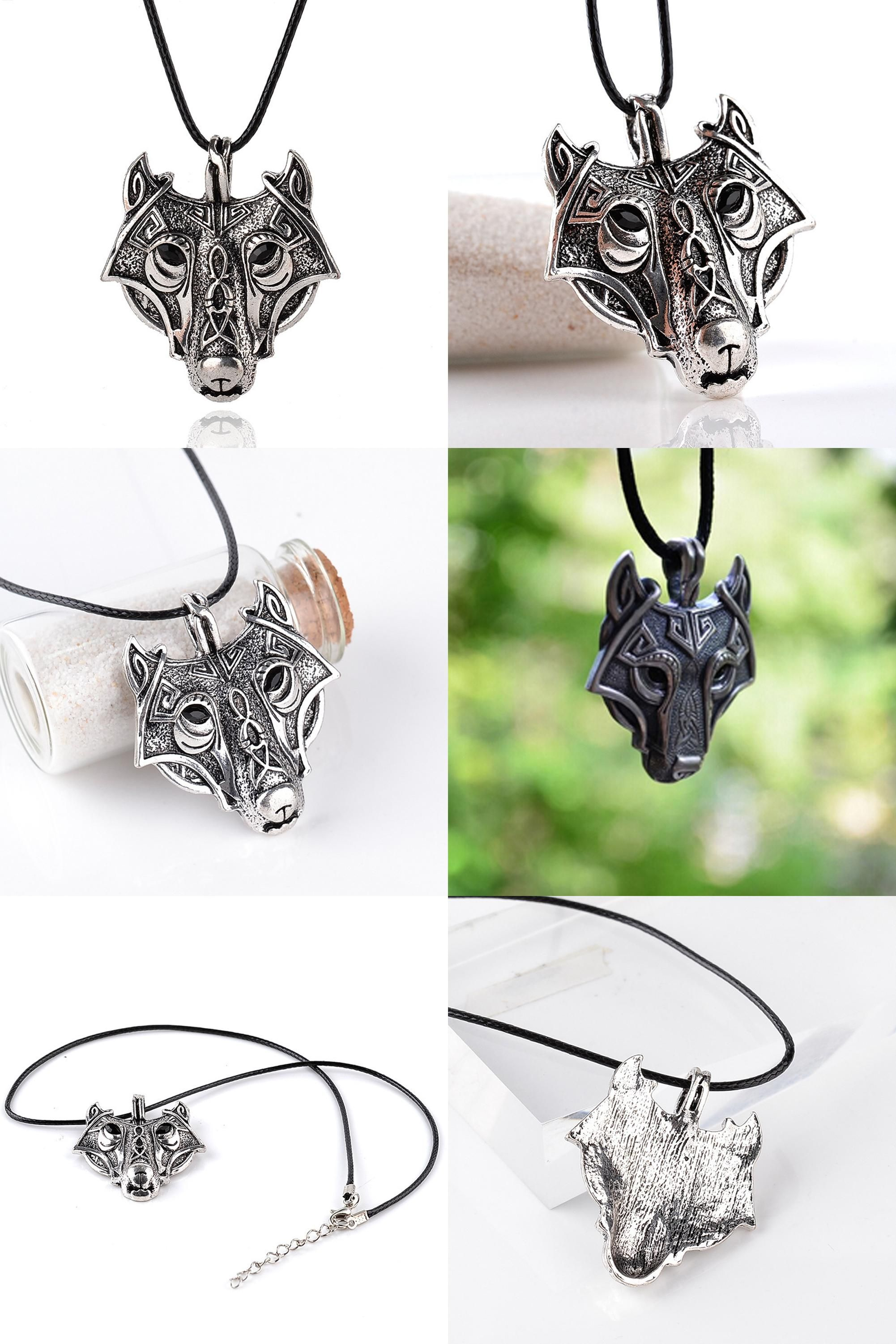 fashion pendant jewelry dropshipping huidang head pin men celt supernatural viking necklace hot sell wolf