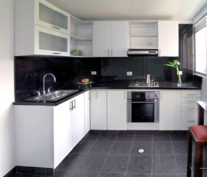 Resultado De Imagen Para Cocina Blanca Y Negra Pequena Patios