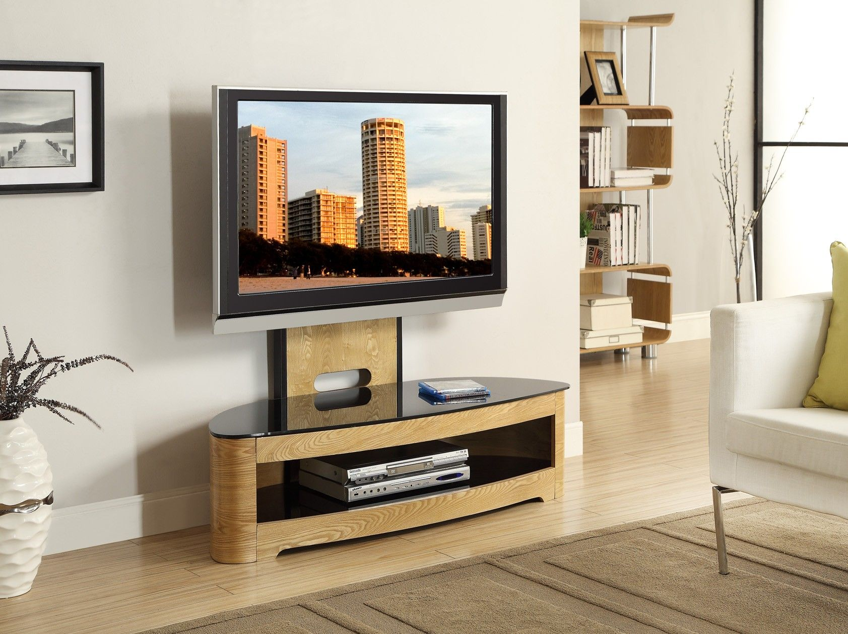 Tv Stands For Lcd Tvs Jual Furnishings Jf209 Curved Oak Cantilever Tv Stand Upto 50