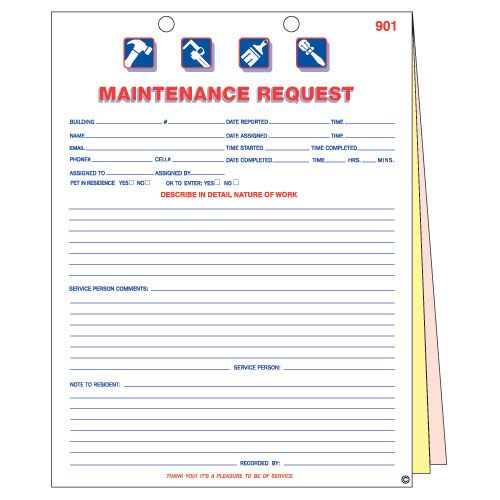 Maintenance Work Orders keeps track of maintenance and service - work request form