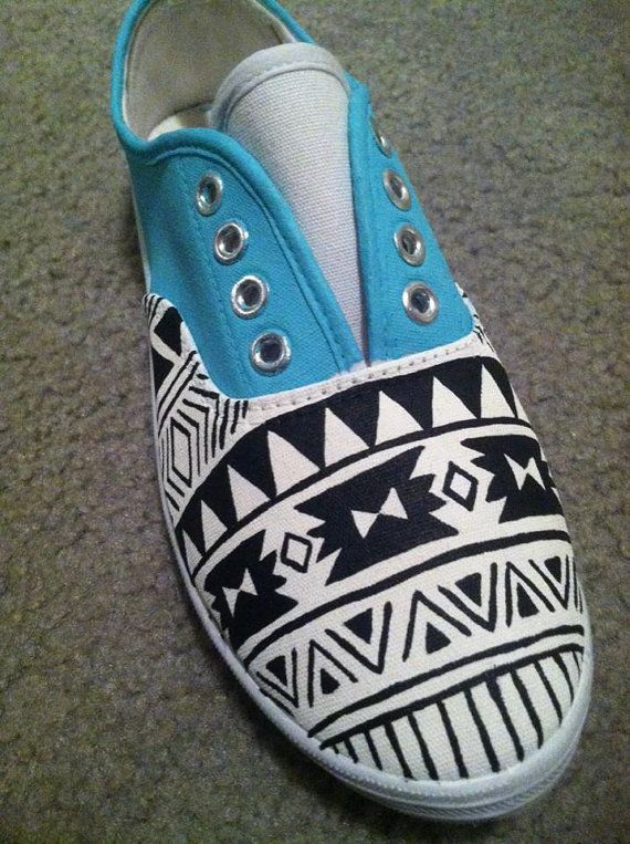Items similar to Hand painted canvas shoes in Aztec pattern, aztec canvas  shoes, southwest canvas shoes, pattern shoes, turquoise canvas shoes, ...