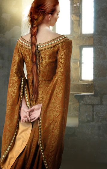 Orange and gold medieval dress
