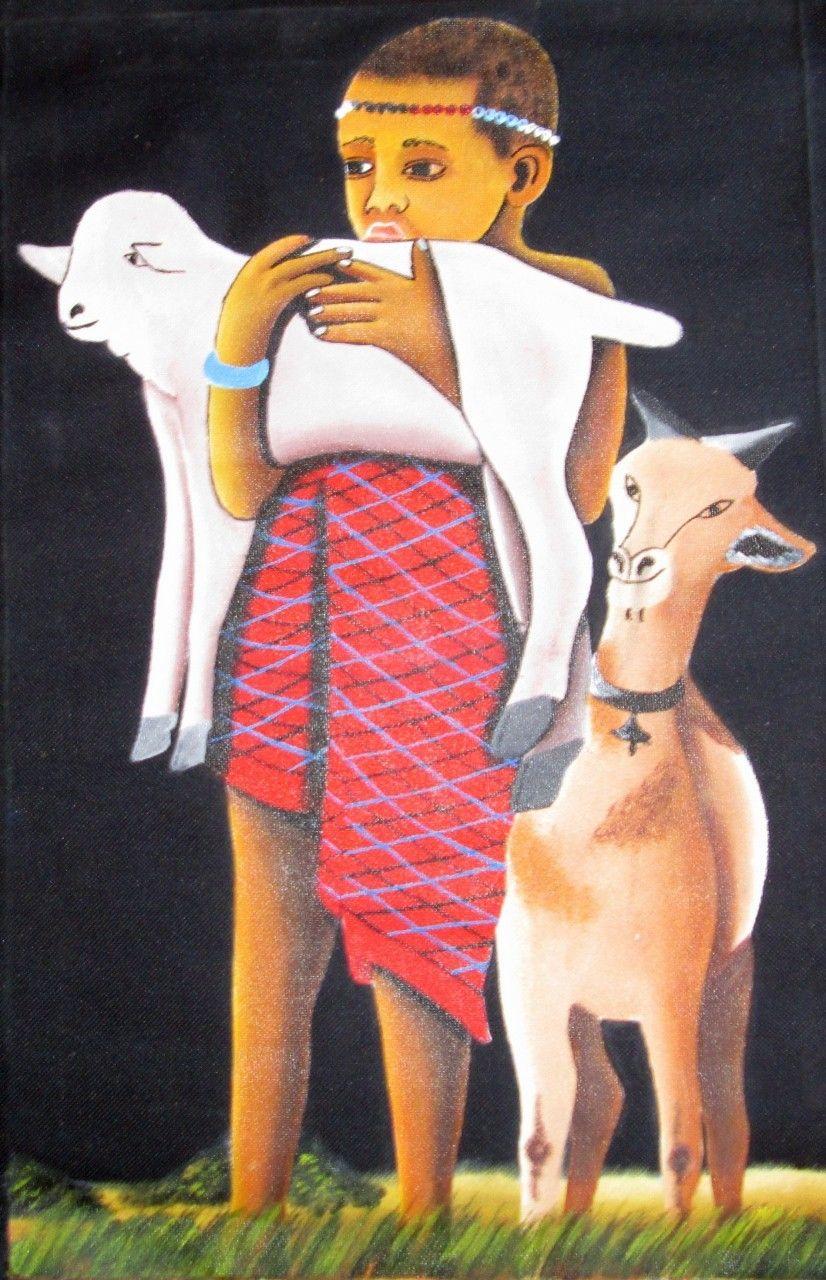 Massai Boy East African Art,  Hand painted in Arusha, East Africa (https://africanartonline.com/massai-boy-east-african-art/)
