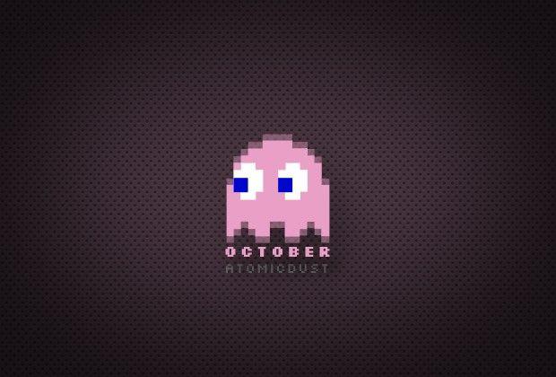 October Wallpaper Design from Atomicdust / Pac Man / Ghost / Halloween #octoberwallpaper