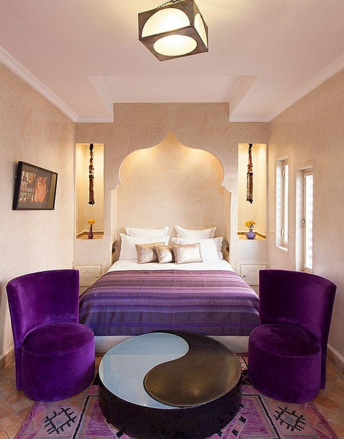 Schlafzimmer Design marokko lila sessel licht Pimp my room