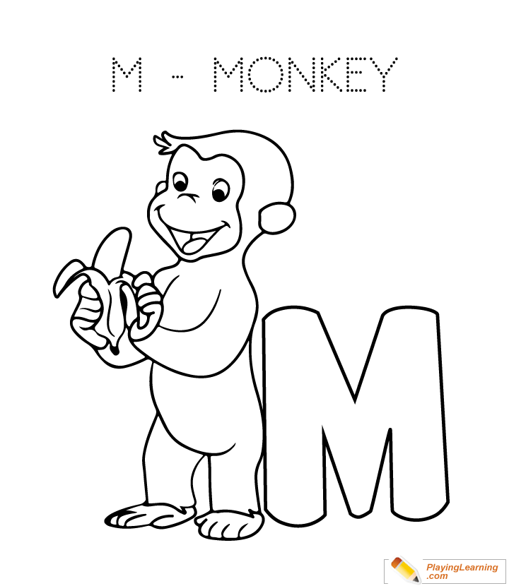 M Is For Monkey Coloring Page For Kids Monkey Coloring Pages Free Kids Coloring Pages Alphabet Coloring Pages