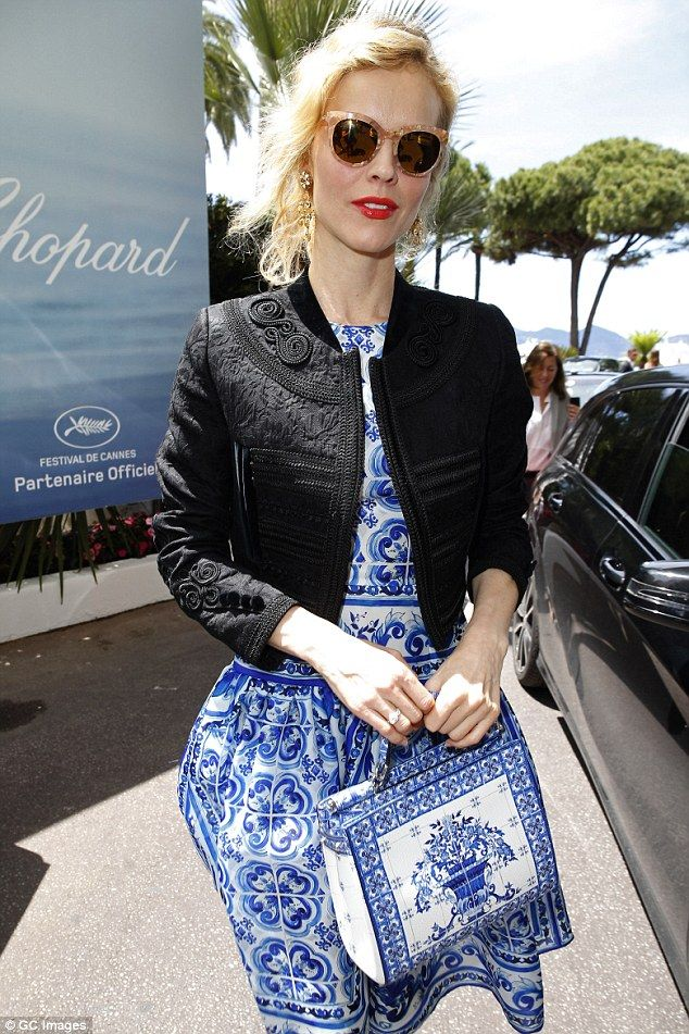 Striking:Eva Herzigová was quite a sight in her printed blue dress on Thursday afternoon...