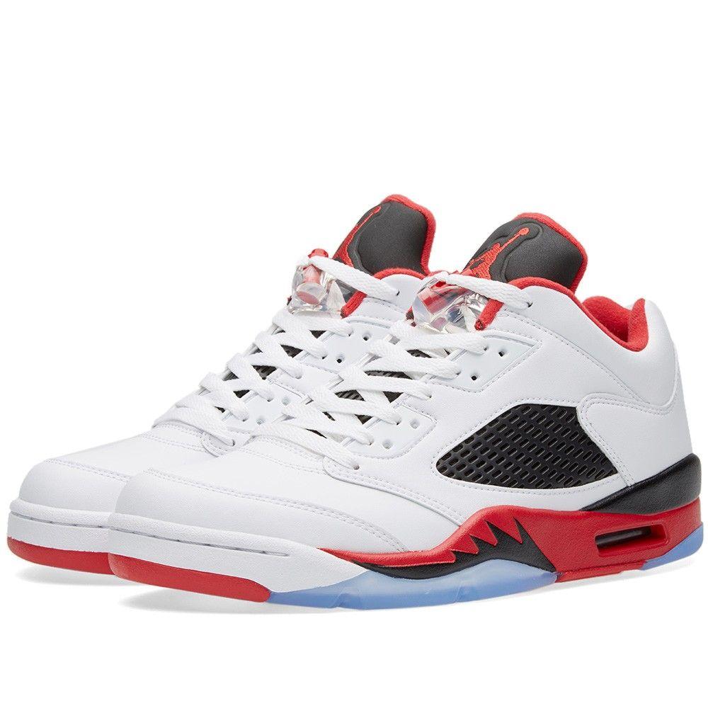 reputable site 7cdd3 56b3f Nike Air Jordan 5 Retro Low White, Fire Red   Black (FOR SALE -